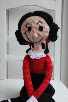 Haakpatroon Olijfje, gehaakte pop van 70 cm. groot. Haakpatroon van Inhaken. Crochet doll Olive