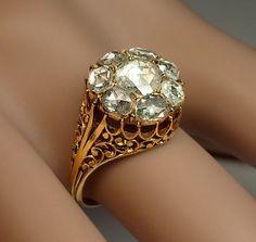 Georgian Rose Cut Diamond Cluster Ring circa 1820