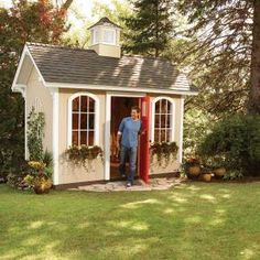 Adorable modular garden shed! http://www.familyhandyman.com/DIY-Projects/Outdoor-Projects/Backyard-Structures/Sheds/how-to-build-a-cheap-storage-shed/Step-By-Step #garden #shed #potting #garden #outdoor #modular #diy