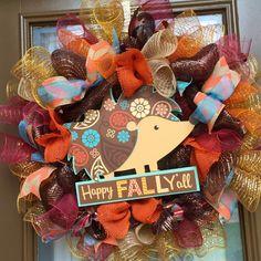 Happy Fall Yall Hedgehog deco mesh wreath by WelcomeHomeWreath