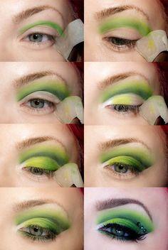 fashion, make-up, eyes, eyeshadow, green