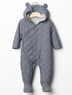Quilted chambray bear one-piece -- Shop online at babyGAP through Zoola and get cash back!