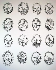 "Barbara Gilhooly  wire drawings  annealed steel wire  5"" x 3"" (give or take)  (c) 2012  birds by gilhooly studio, via Flickr"