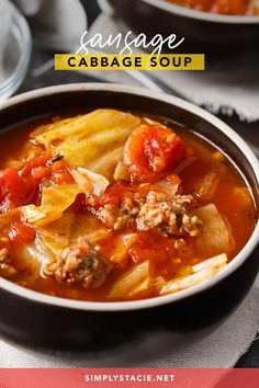 Sausage Cabbage Soup - This low carb soup is easy to make and tastes delish! Its comfort food perfect for a cold winters day. Low Carb Soup Recipes, Cabbage Soup Recipes, Chowder Recipes, Healthy Soup Recipes, Beef Recipes, Family Recipes, Easy Recipes, Dinner Recipes, Recipes For Soups And Stews