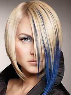 Blue extensions under blonde to create an asymmetrical cut. If you look under her chin to her left, you can see she just has an ordinary blonde layered bob, and the blue can probably be taken out and put in at will.