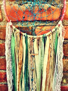 Bohemian Spirit Vintage Fabric Dreamcatcher by karen michel