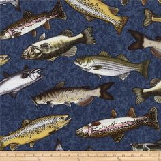 Timeless Treasures Tossed Fish Water Blue from @fabricdotcom  Designed by George McCartney for Timeless Treasures, this cotton print fabric is perfect for quilting, apparel and home decor accents. Colors include blue, green, gold, taupe, grey, brown and black.