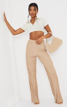 Stone Plisse Wide Leg Trousers | Trousers | PrettyLittleThing Wide Leg Trousers, Beachwear, Cool Outfits, Feminine, Nice Clothes, Legs, Crop Tops, Photoshoot Ideas, Fabric