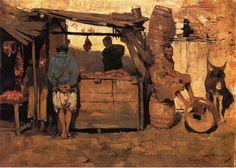 """Théo VAN RYSELBERGHE (1862-1926), """"Echoppe de boucher, Tanger"""", huile sur toile, 1882, Musée des Beaux-Arts de Gand."""