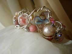 Sterling Silver Wire Wrapped Pink Abalone by JanetMarieJewelry, $200.00
