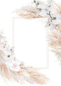 Artsy Background, Flower Background Wallpaper, Flower Backgrounds, Watercolor Background, Phone Wallpaper Images, Framed Wallpaper, Chic Bridal Showers, Watercolor Leaves, Pampas Grass