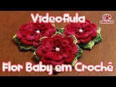 Flor Baby em crochê - YouTube Crochet Puff Flower, Crochet Flower Tutorial, Crochet Leaves, Crochet Flower Patterns, Crochet Designs, Crochet Flowers, Crochet Brooch, Crochet Motif, Crochet Shawl