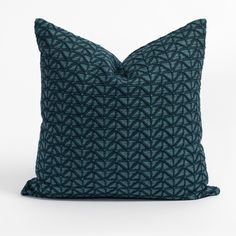 This moody teal-blue pillow has a geometric embroidered pattern that is stunningly graphic yet subtle. The zig-zag motif, emphasized by deep inky bleeds, offers a global style and refined artisanal quality that will add the perfect hit of texture and sophistication to your space. Dash And Albert, Global Style, Check Fabric, Striped Fabrics, Blue Pillows, Outdoor Fabric, Handmade Pillows, Teal Blue, Pillow Inserts