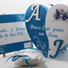 Ensemble décoration mariage bleu turquoise et blanc