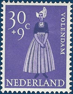P8 Buttons & Fabrics: Traditional Costumes : Postage Stamps Holland 1958