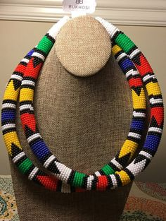 Your place to buy and sell all things handmade Rope Jewelry, Rope Necklace, Bead Jewellery, Beaded Necklace, Necklaces, Crochet Skirts, Beaded Jewelry Patterns, African Jewelry, Africa Fashion