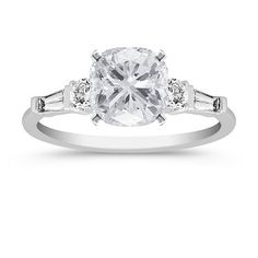 ~~Lindz Original Design!  tapered baguette setting with 1-2 carat cushion cut center stone.