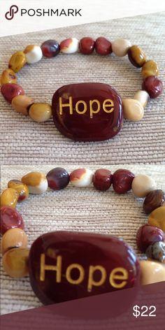 Hope Gemstone Bracelet Hope Gemstone Inspirational Bracelet - Brand New Elastic Stretch Bracelet - Jasper, Bloodstone & Goldtone Gemstones Boutique Jewelry Bracelets