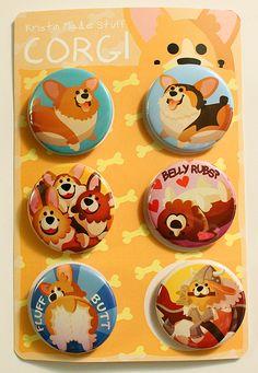 Cute Corgi Buttons cute corgi pins pinback by KristinMadeStuff