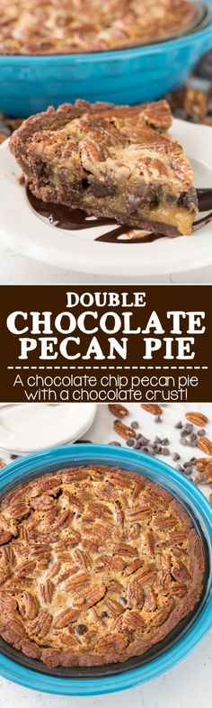 This Double Chocolate Pecan Pie Recipe is an easy pecan pie recipe that's full of chocolate chips and it has an easy no roll chocolate pie crust!