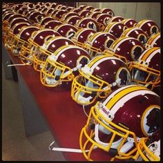 From the #Redskins Equipment room: helmets are polished and ready to go for next week's OTA's. #HTTR #LiveIt