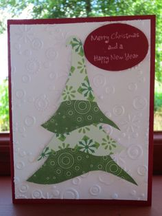 Christmas card, I just hand drew the 4 templates, Susan said they looked they looked like the Hogwart's sorting hat, lol