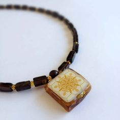 Tile Necklace Glass and Stone -  Gold, Brown & Dark Gray - Handmade