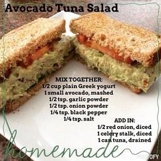 Avocado Tuna salad without Mayo. Apparently plain Greek yogurt hasn't grown on me yet cause this tuna tasted sour - Gina Low Carb Recipes, Cooking Recipes, Healthy Recipes, Salad Recipes, Avacado And Tuna, Tuna Salad Without Mayo, Sandwiches, Good Food, Yummy Food