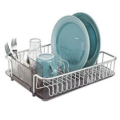 mDesign Rustproof Aluminium Kitchen Draining Rack Rack for Drying Glasses, Cutlery, Bowls, Plates - Smoke/Silver