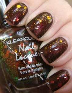 """Obsessive Cosmetic Hoarders Unite!: Wet N Wild Megalast Nail Polish """"Under Your Spell"""" with Klean Color """"Chunky Holo Black"""""""