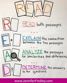 READ acronym for analyzing paired passages. This paired passage breaks down a acronym to use to help students read and analyze paired passages. passages 6 Ways to Effectively Teach Paired Texts and Paired Passages {Free Posters and Center} 5th Grade Reading, Student Reading, 6th Grade Ela, Teaching Reading, Fourth Grade, Third Grade, Reading Workshop, Reading Skills, Reading Response