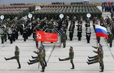 The color guard of the Russian Army Guard of Honor trooping the Victory Banner and the Russian national flag in a rehearsal for the 2015 Moscow Victory Day Parade at Alabino Military Base, April 22, 2015.