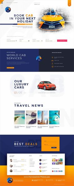 Let's go is clean and modern design PSD #template for #cab #taxi booking and travel agency website with 15 layered PSD files to live preview & download click on image or Visit  #webdesigns