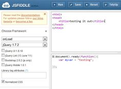 jsFiddle coding HTML5 and JavaScript