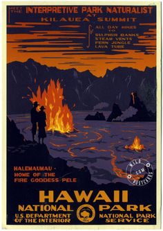 Art we have: National Parks WPA Posters - Hawaii Volcanoes National Park Hawaii National Parks, Hawaii Volcanoes National Park, Volcano National Park, Pub Vintage, Photo Vintage, Vintage Art, Vintage Style, Vintage Travel Posters, Vintage Postcards