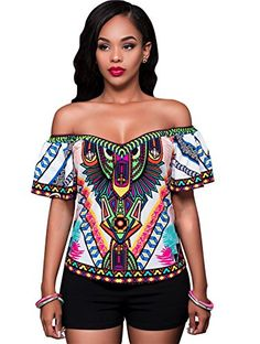 Women's Casual Floral Off Shoulder Tops Blouses Shirts S ...