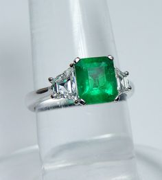 Vintage 2.45ct Emerald Trapezoid Diamonds 3-Stone Ring 18K White Gold Estate Jewelry