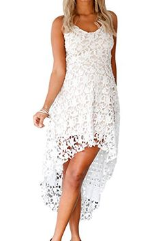 Alvaq Women's Summer Casual V Neck Bridesmaid Lace High Low Party Midi Dress Wedding Cocktail Dresses Plus Size 2XL White -- You can get additional details at the sponsored image link.