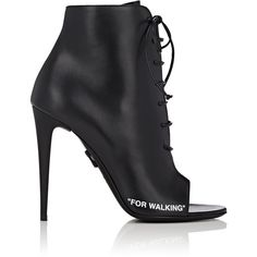 Off-White c/o Virgil Abloh Women's Open-Toe Leather Ankle Boots ($1,140) ❤ liked on Polyvore featuring shoes, boots, ankle booties, ankle boots, black, black stiletto booties, lace-up bootie, black leather booties, lace-up booties and black open toe booties