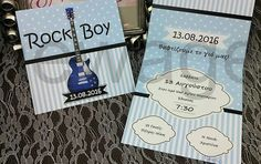 προσκλητηριο βαφτισης με θεμα κιθαρα Rock Boy, Baby Boy Christening, Cover, Books, Libros, Book, Book Illustrations, Baby Boy Baptism, Libri