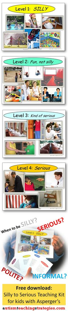 Understanding and practicing levels of formality across different social contexts can be awfully confusing to many children with Asperger's and other autism spectrum disorders.  I devised a four-level visual system and created 36 cards to create a social skills teaching system that can also be used as a game.  Easy to download and print out. Free.