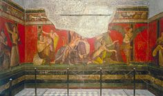 Dionysiac mystery frieze, Second Style wall paintings in room 5 of the Villa of Mysteries, Pompeii, Italy, ca 60-50 BCE.