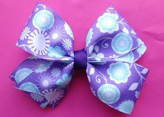Purple and Blue Patterned Polyester Ribbon Hair Bow by Bloomzies, $4.00