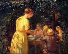 anna ancher(1859-1935), midday meal in the garden, 1915. oil on canvas, 62 x 78 cm. private collection http://www.the-athenaeum.org/art/detail.php?ID=64069