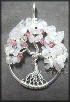 Cherry Blossom Tree of Life Pendant in Rainbow Moonstone and Swarovski Crystal
