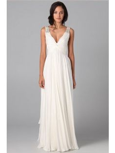 Simple Prom Dresses A Line V Neck Floor Length Chiffon Cheap Under ...
