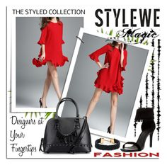 """""""StyleWe"""" by jecakns ❤ liked on Polyvore featuring Joie, Alexis Bittar, handbag, reddress, LeatherBag and minidres"""