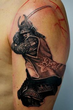 A Samurai tattoo that is just black with the skin as the background will look…