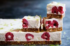 Soaked cashews, coconut milk and loads of lime juice and rind form the creamy topping for these low-cal raspberry-studded bars. Try them straight out of the freezer!
