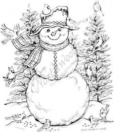 Northwoods Rubber Stamps - Wood Mounted - Cardinal Snowman 4 x in. Christmas Coloring Pages, Coloring Book Pages, Christmas Colors, Christmas Art, Wood Burning Patterns, Christmas Drawing, Theme Noel, Christmas Embroidery, Colors